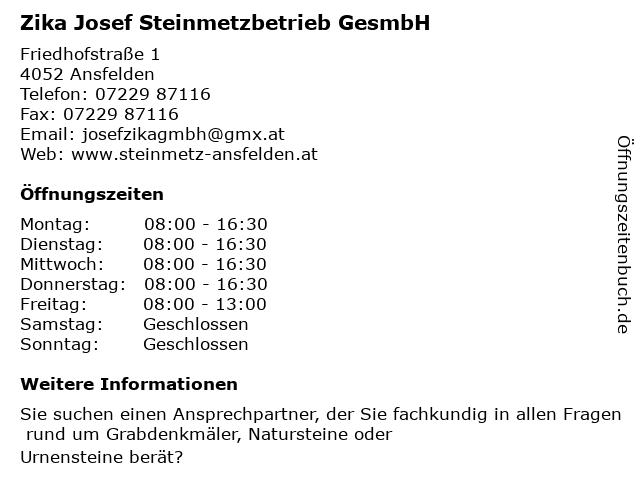 Zika Josef Steinmetzbetrieb GesmbH in Ansfelden: Adresse und Öffnungszeiten