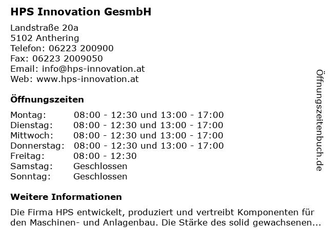 HPS Hydraulik Pneumatik Systems Innovation GesmbH in Anthering: Adresse und Öffnungszeiten