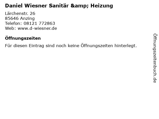 Daniel Wiesner Sanitär & Heizung in Anzing: Adresse und Öffnungszeiten