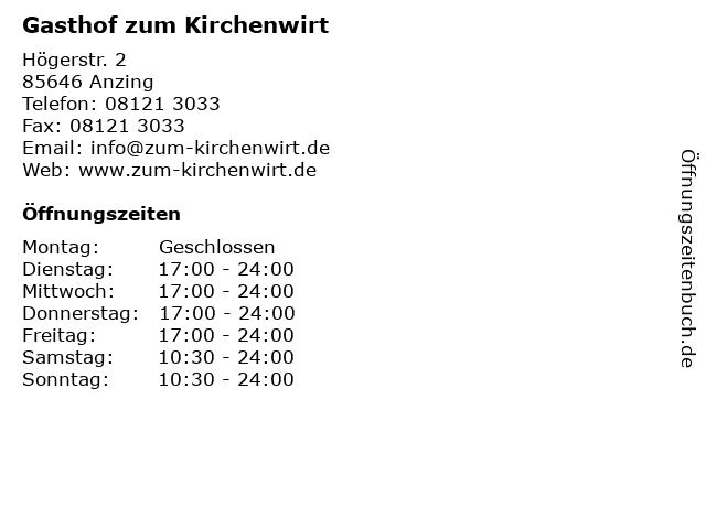 Gasthof zum Kirchenwirt in Anzing: Adresse und Öffnungszeiten