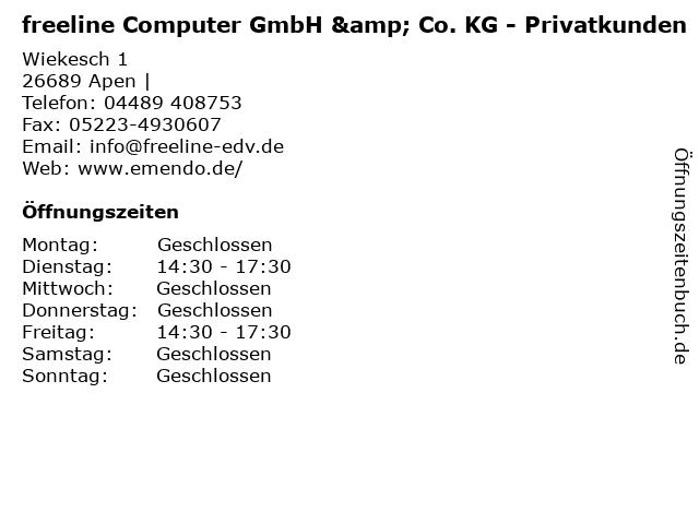 freeline Computer GmbH & Co. KG - Privatkunden in Apen  : Adresse und Öffnungszeiten