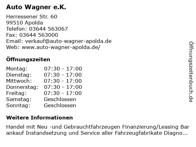 Auto Wagner e.K. in Apolda: Adresse und Öffnungszeiten