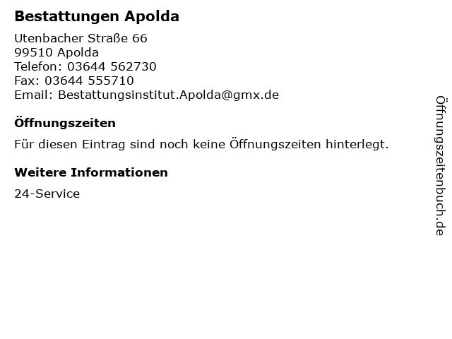 Bestattungen Apolda in Apolda: Adresse und Öffnungszeiten