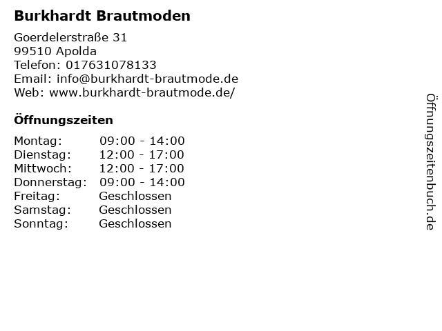 ᐅ Offnungszeiten Burkhardt Brautmoden Goerdelerstrasse 31 In Apolda