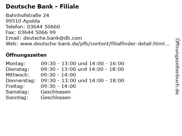 Deutsche Bank - Filiale in Apolda: Adresse und Öffnungszeiten