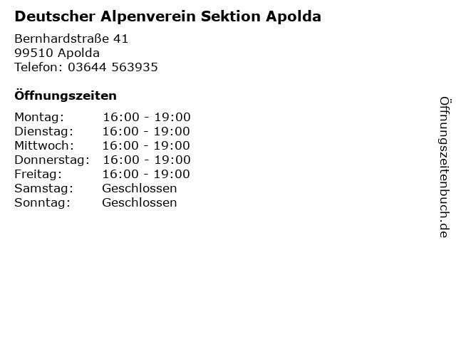 Deutscher Alpenverein Sektion Apolda in Apolda: Adresse und Öffnungszeiten