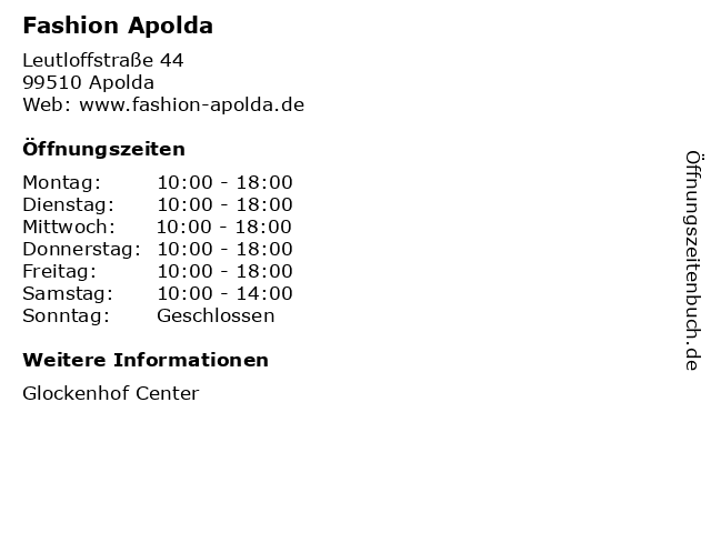 Fashion Apolda in Apolda: Adresse und Öffnungszeiten