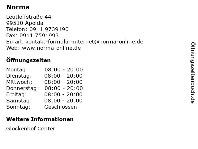 Norma Lebensmittelfilialbetrieb Stiftung & Co. KG in Apolda: Adresse und Öffnungszeiten