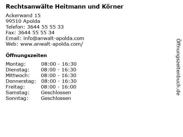 Rechtsanwälte Heitmann und Körner in Apolda: Adresse und Öffnungszeiten