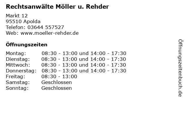 Rechtsanwälte Möller u. Rehder in Apolda: Adresse und Öffnungszeiten