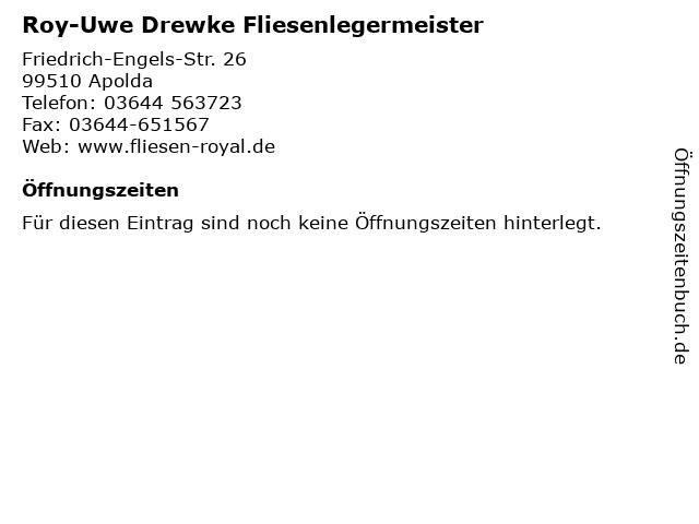 Roy-Uwe Drewke Fliesenlegermeister in Apolda: Adresse und Öffnungszeiten