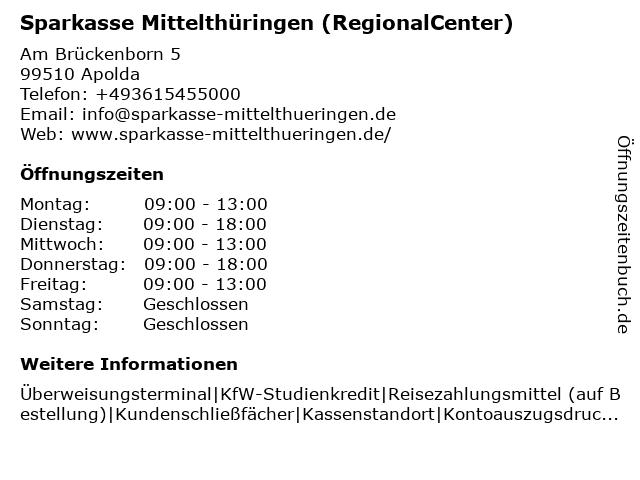 Sparkasse Mittelthüringen - (Geldautomat RegionalCenter) in Apolda: Adresse und Öffnungszeiten
