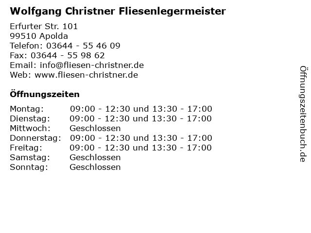 Wolfgang Christner Fliesenlegermeister in Apolda: Adresse und Öffnungszeiten
