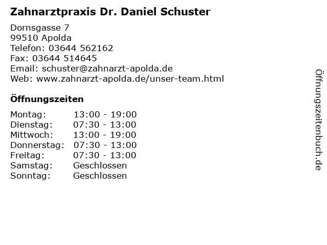 Zahnarztpraxis Dr. Daniel Schuster-Zahnarzt in Apolda: Adresse und Öffnungszeiten