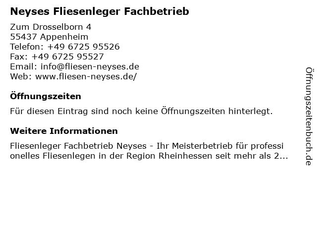 Neyses Fliesenleger Fachbetrieb in Appenheim: Adresse und Öffnungszeiten