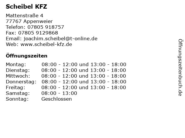 Scheibel KFZ in Appenweier: Adresse und Öffnungszeiten