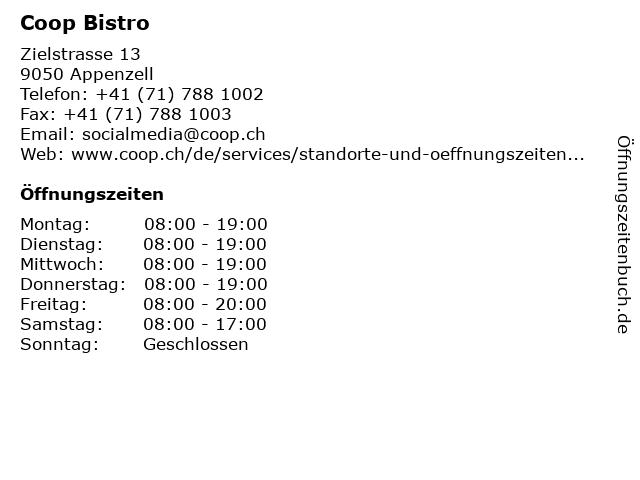 Coop Bistro in Appenzell: Adresse und Öffnungszeiten