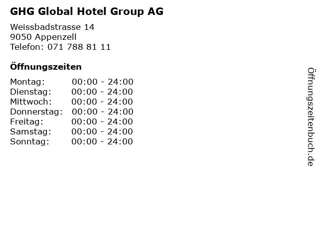 GHG Global Hotel Group AG in Appenzell: Adresse und Öffnungszeiten