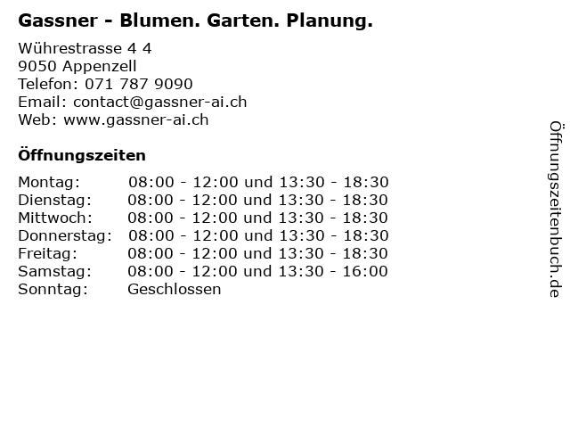 Gassner - Blumen. Garten. Planung. in Appenzell: Adresse und Öffnungszeiten