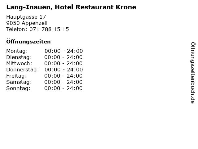 Lang-Inauen, Hotel Restaurant Krone in Appenzell: Adresse und Öffnungszeiten