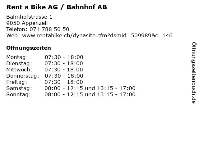 Rent a Bike AG / Bahnhof AB in Appenzell: Adresse und Öffnungszeiten