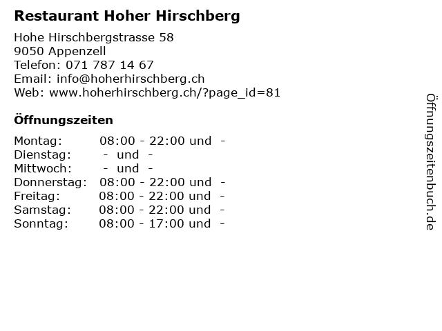 Restaurant Hoher Hirschberg in Appenzell: Adresse und Öffnungszeiten