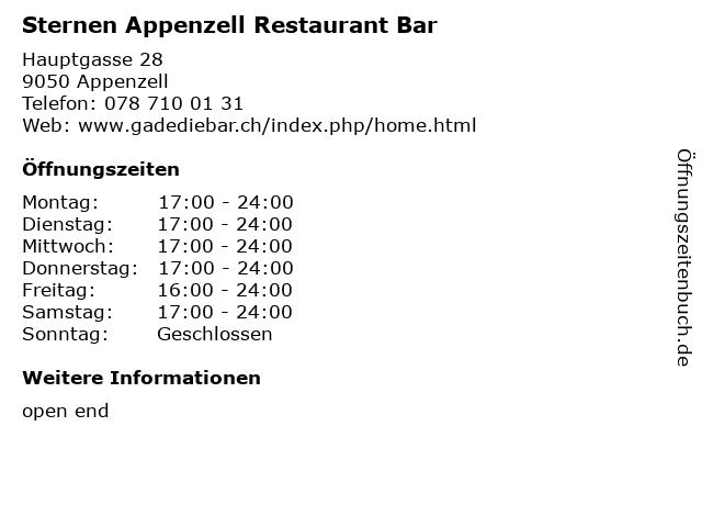 Sternen Appenzell Restaurant Bar in Appenzell: Adresse und Öffnungszeiten