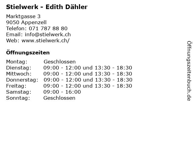 Stielwerk - Edith Dähler in Appenzell: Adresse und Öffnungszeiten