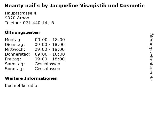 Beauty nail's by Jacqueline Visagistik und Cosmetic in Arbon: Adresse und Öffnungszeiten