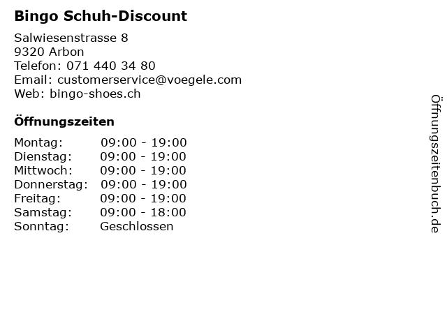Bingo Schuh-Discount in Arbon: Adresse und Öffnungszeiten