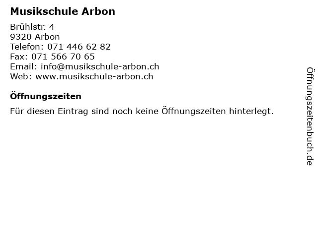 Musikschule Arbon in Arbon: Adresse und Öffnungszeiten