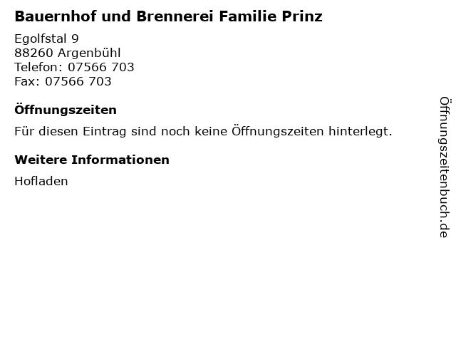 Bauernhof und Brennerei Familie Prinz in Argenbühl: Adresse und Öffnungszeiten