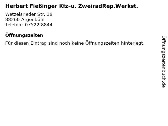 Herbert Fießinger Kfz-u. ZweiradRep.Werkst. in Argenbühl: Adresse und Öffnungszeiten