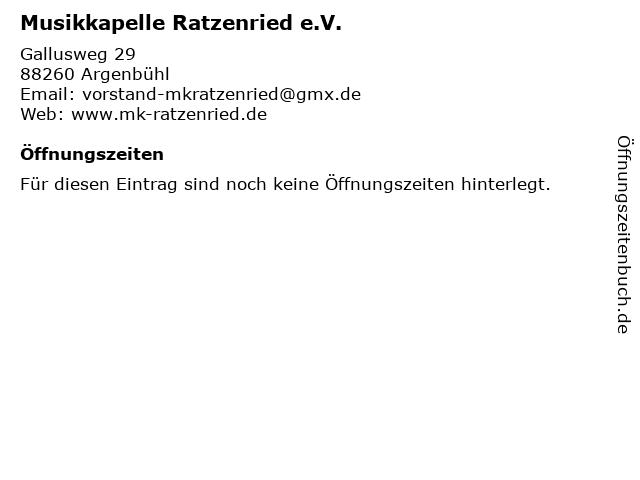 Musikkapelle Ratzenried e.V. in Argenbühl: Adresse und Öffnungszeiten