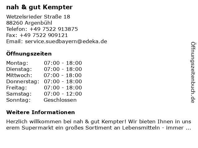 nah & gut Kempter in Argenbühl: Adresse und Öffnungszeiten