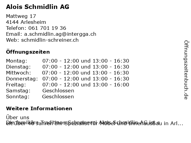 Alois Schmidlin AG in Arlesheim: Adresse und Öffnungszeiten