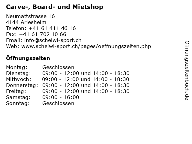 Carve-, Board- und Mietshop in Arlesheim: Adresse und Öffnungszeiten