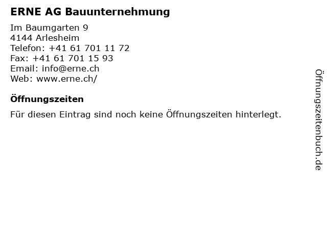 ERNE AG Bauunternehmung in Arlesheim: Adresse und Öffnungszeiten