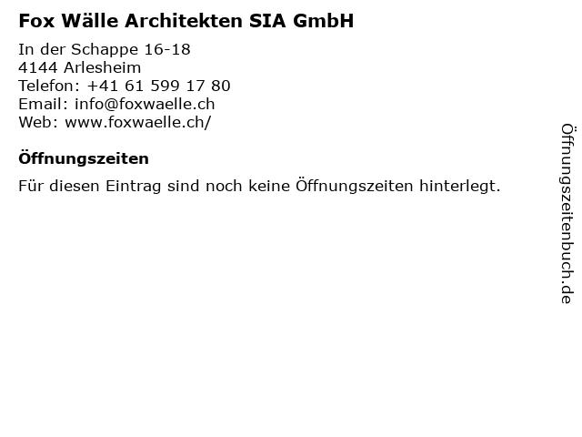 Fox Wälle Architekten SIA GmbH in Arlesheim: Adresse und Öffnungszeiten