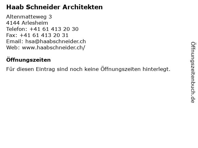 Haab Schneider Architekten in Arlesheim: Adresse und Öffnungszeiten