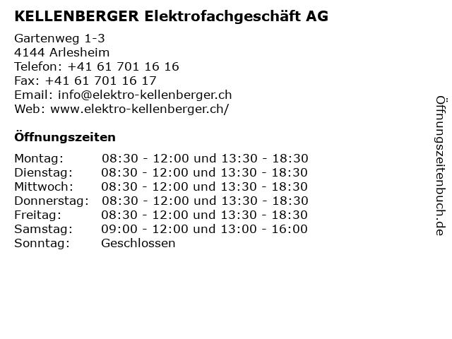KELLENBERGER Elektrofachgeschäft AG in Arlesheim: Adresse und Öffnungszeiten