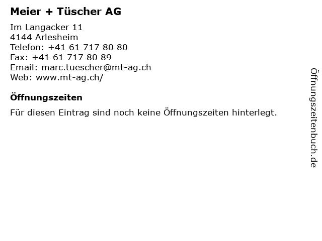 Meier + Tüscher AG in Arlesheim: Adresse und Öffnungszeiten