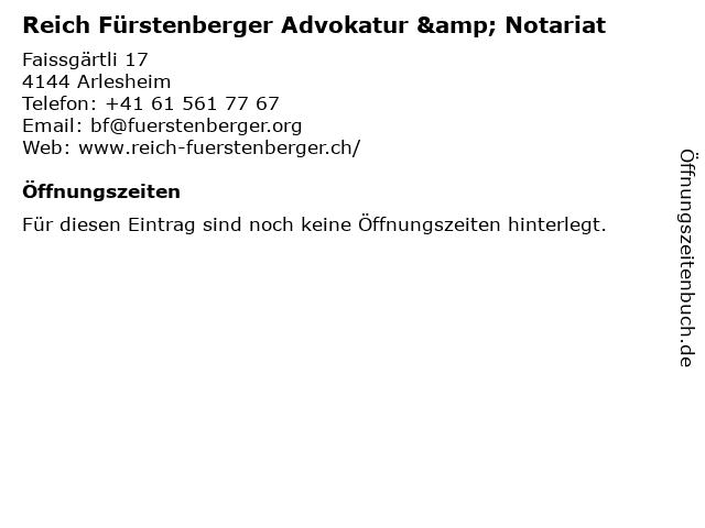 Reich Fürstenberger Advokatur & Notariat in Arlesheim: Adresse und Öffnungszeiten