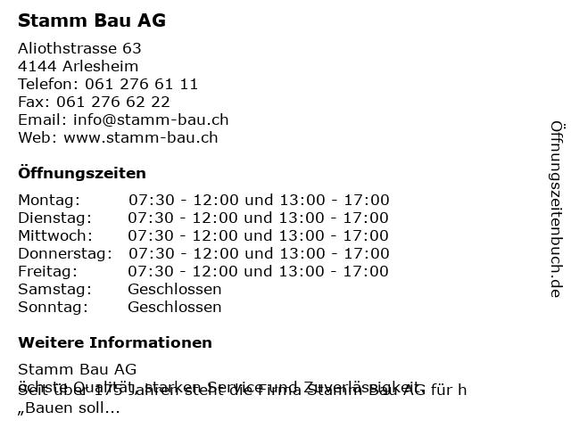 Stamm Bau AG in Arlesheim: Adresse und Öffnungszeiten