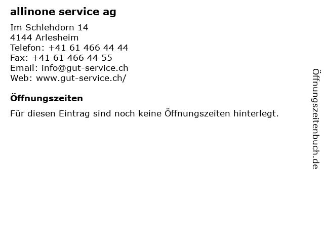 allinone service ag in Arlesheim: Adresse und Öffnungszeiten