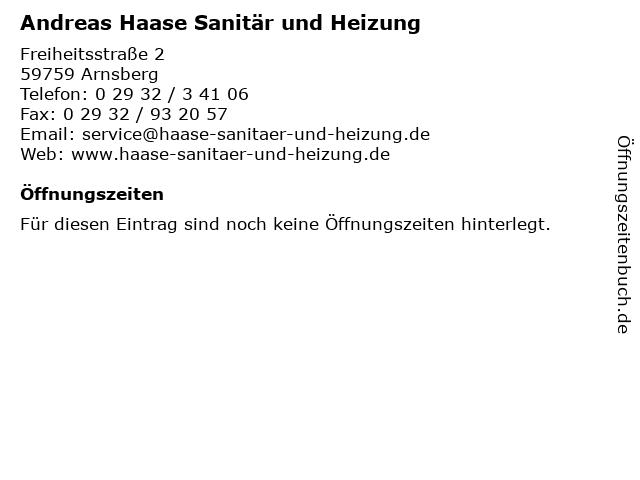 Andreas Haase Sanitär und Heizung in Arnsberg: Adresse und Öffnungszeiten