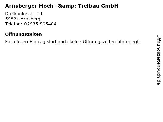 Arnsberger Hoch- & Tiefbau GmbH in Arnsberg: Adresse und Öffnungszeiten