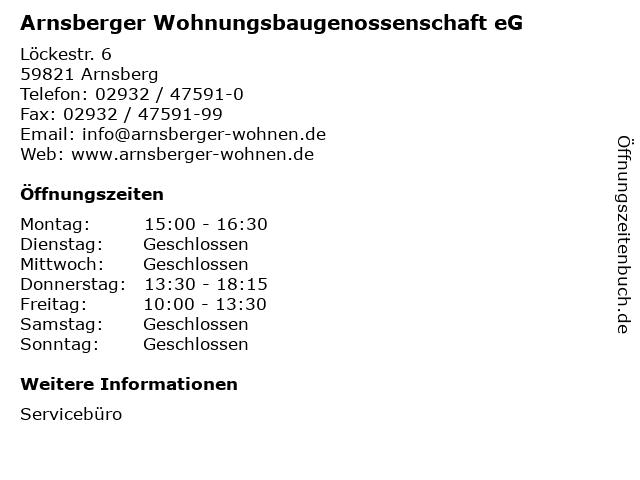 Arnsberger Wohnungsbaugenossenschaft eG in Arnsberg: Adresse und Öffnungszeiten