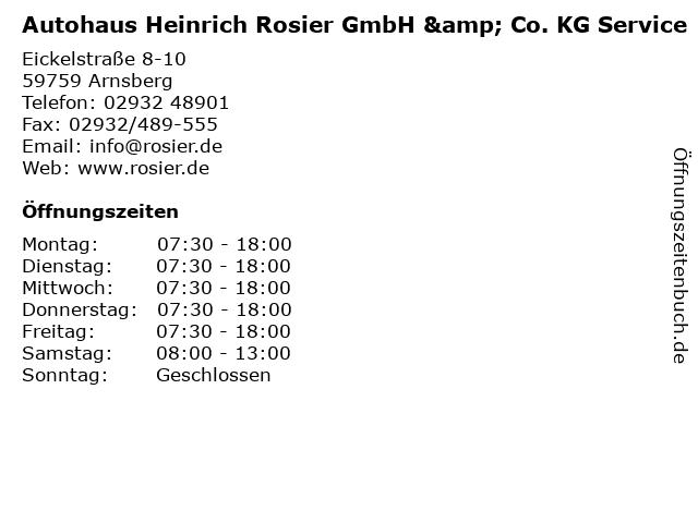 Autohaus Heinrich Rosier GmbH & Co. KG Service in Arnsberg: Adresse und Öffnungszeiten