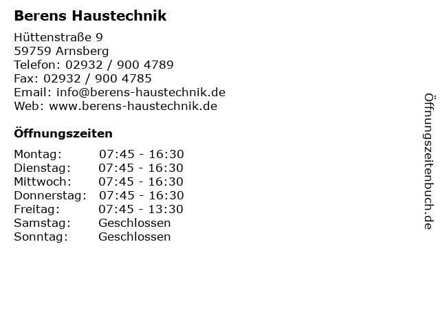 Berens Haustechnik in Arnsberg: Adresse und Öffnungszeiten
